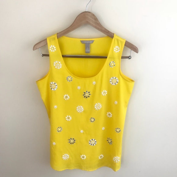 Banana Republic Tops - Banana Republic Yellow Gemstone Beaded Tank Top